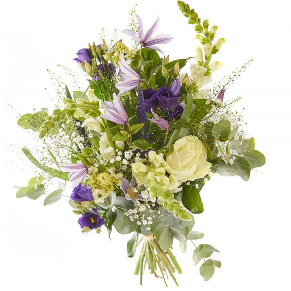 Trendy picking bouquet, purple, white