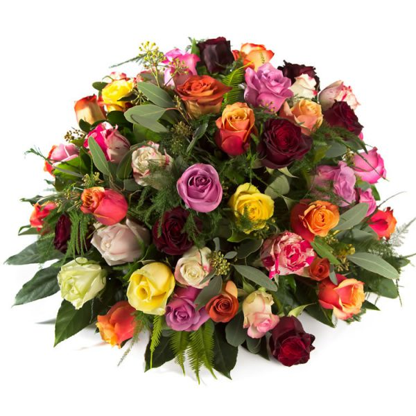 A colorful posy with roses - funeralspray