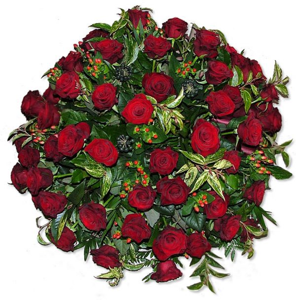 A classic funeral posy with red roses