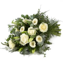 A stylish white funeral sheaf