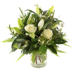 Stylish white sympathy bouquet