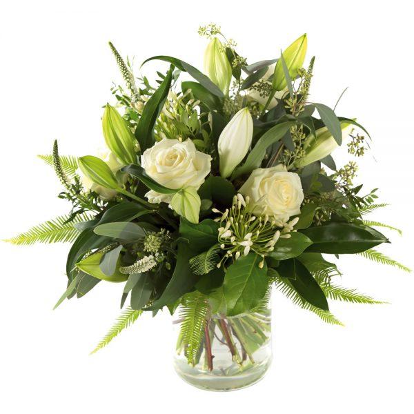Stylish white sympathy bouquet
