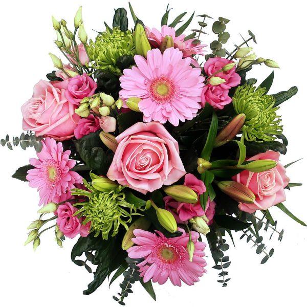 Bestel nu dit vrolijke roze boeket bij Alpina
