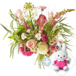 A pink bouquet for the new parents and Miffy for the baby