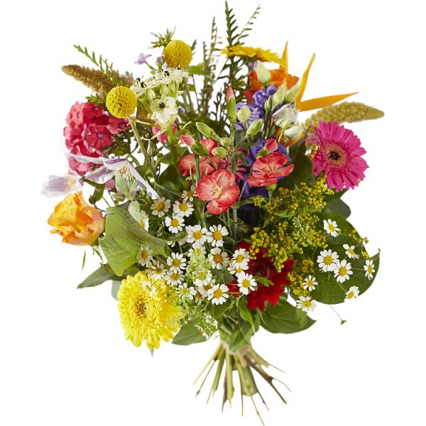 A colourful bouquet of mixed flowers