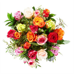 Order this beautiful bouquet with different colors of roses