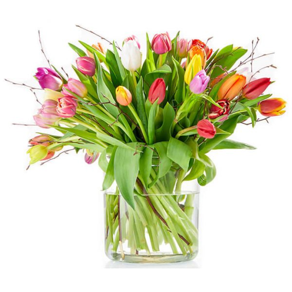 Cheerful bouquet with tulips