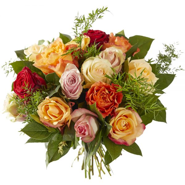 Order this beautiful bouquet with different colors of roses for delivery at home