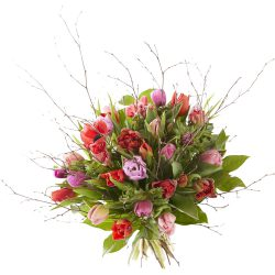 Romantic spring bouquet with tulips