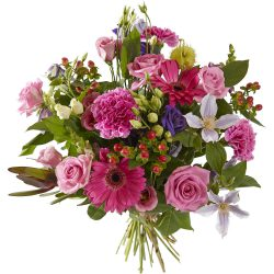 Hand-tied pink bouquet
