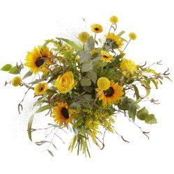 Zonnig geel plukboeket met zonnebloemen