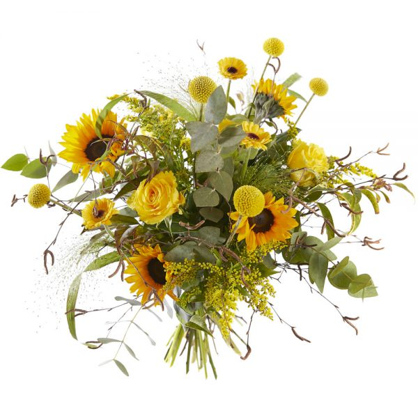 Trendy yellow bouquet with sunflowers
