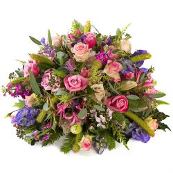 Funeral posy pink purple