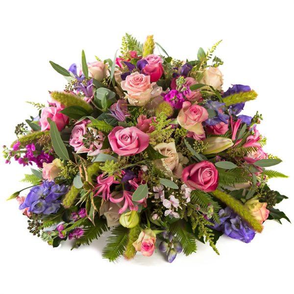 Funeral posy pink purple