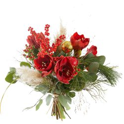 Red christmas bouquet made of Amaryllis and Ilex