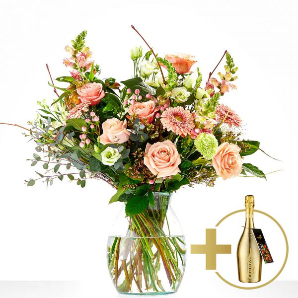 Stylish bouquet of flowers with a bottle of prosecco | Delivery The Hague:]