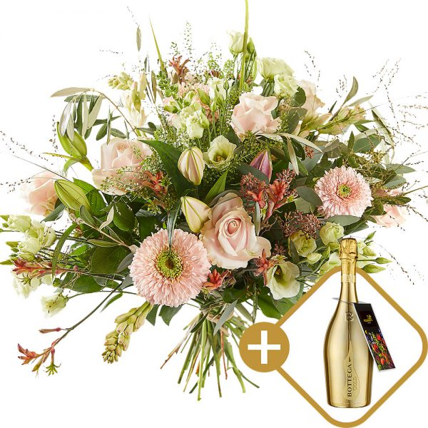 Stylish bouquet with a bottle of prosecco