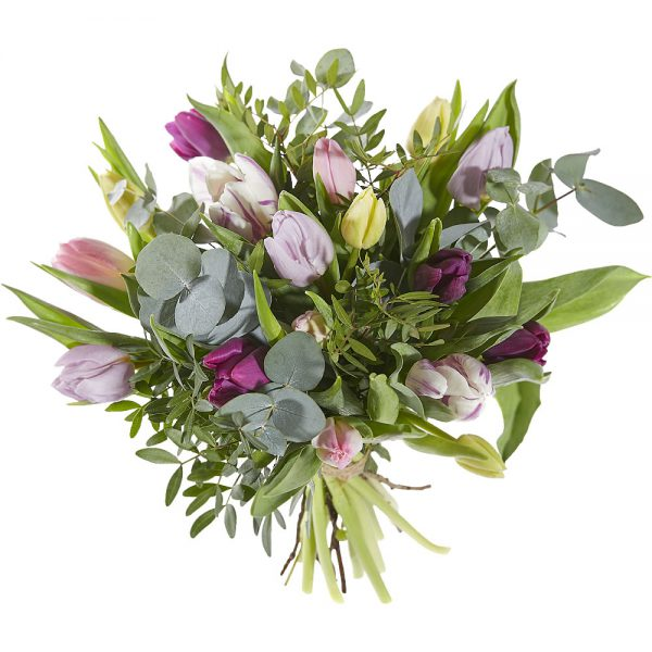 Bouquet with tulips in soft pastels