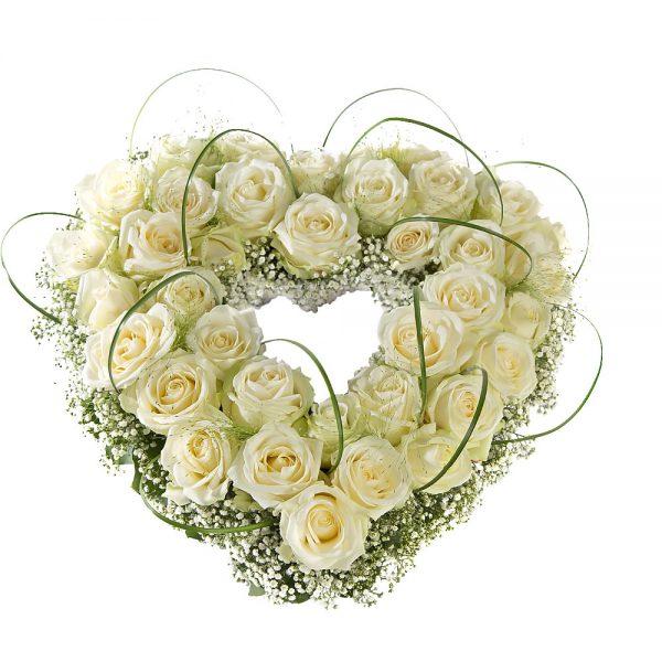 Floral heart of white roses - Farewell flowers