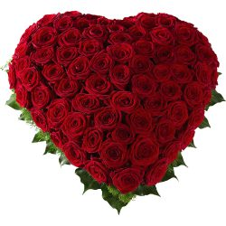 Floral heart of warm red roses - Farewell flowers