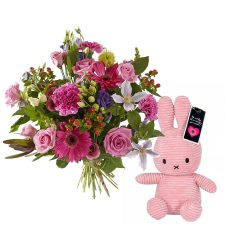 Order a sparkling pink baby girl bouquet and a Miffy