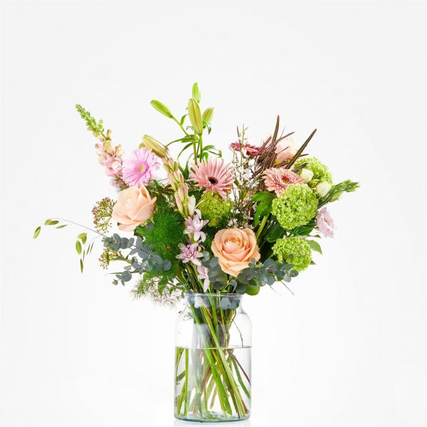 Loving spring bouquet arranged in a vase