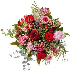 Special bouquet with red and pink flowers