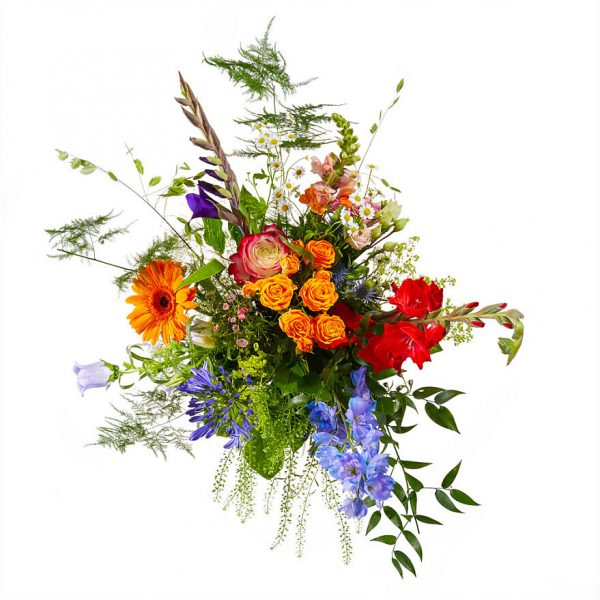 Bont plukboeket met zomerbloemen