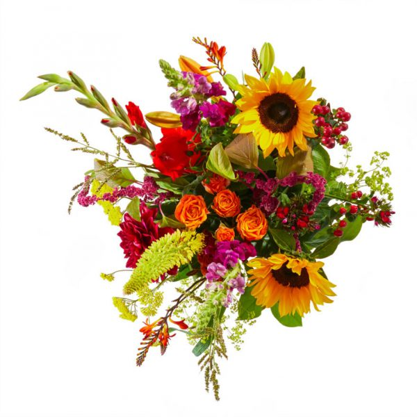 Summer picking bouquet with sunflowers