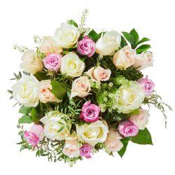 Boeket zachte rozen pasteltinten