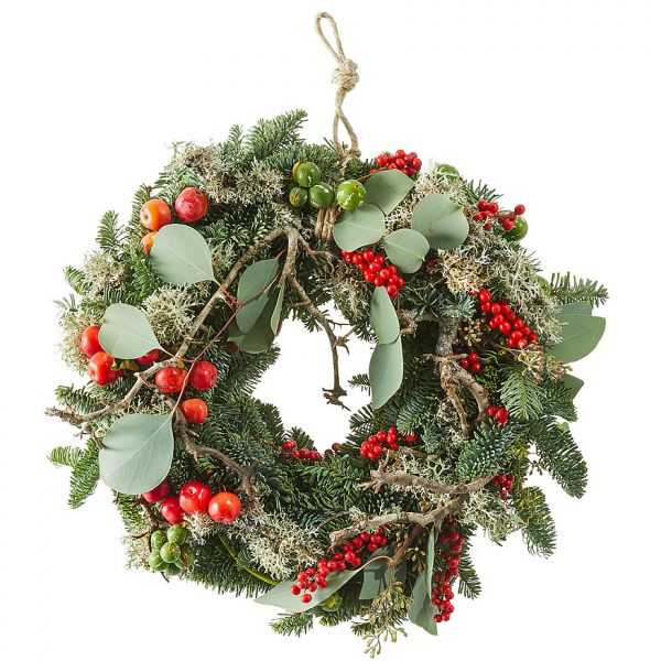 Red Christmas wreath with nobilis and berries