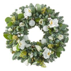 White Christmas wreath with nobilis