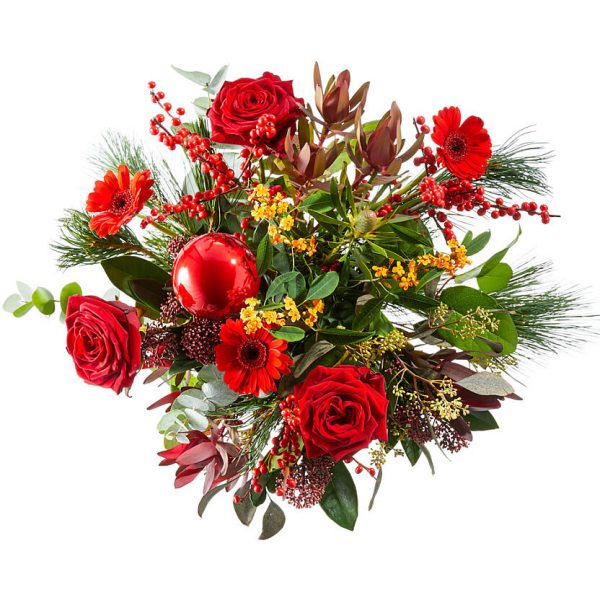 Christmas bouquet with red flowers