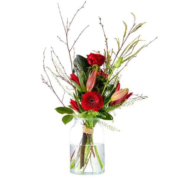 Red Valentine's bouquet for your first love