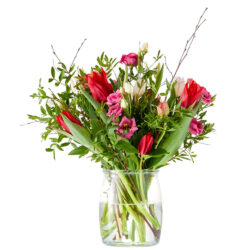 Romantic spring bouquet with tulips ans anemones